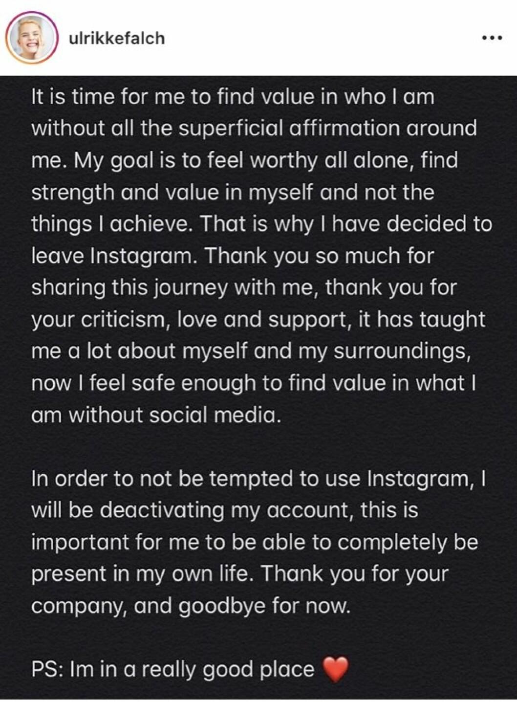 Ett inlägg på Instagram med vit text på svart bakgrund
