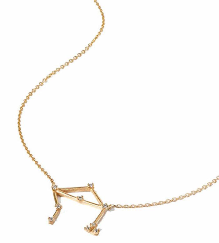 vackert guldhalsband med stjärntecken stenar