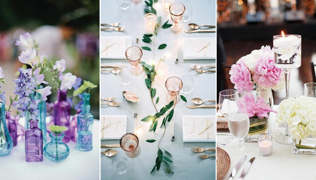 Vackra bordsdekorationer till bröllopet.