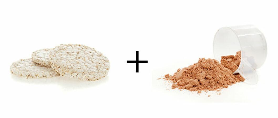 Naturell riskaka + proteinshake.
