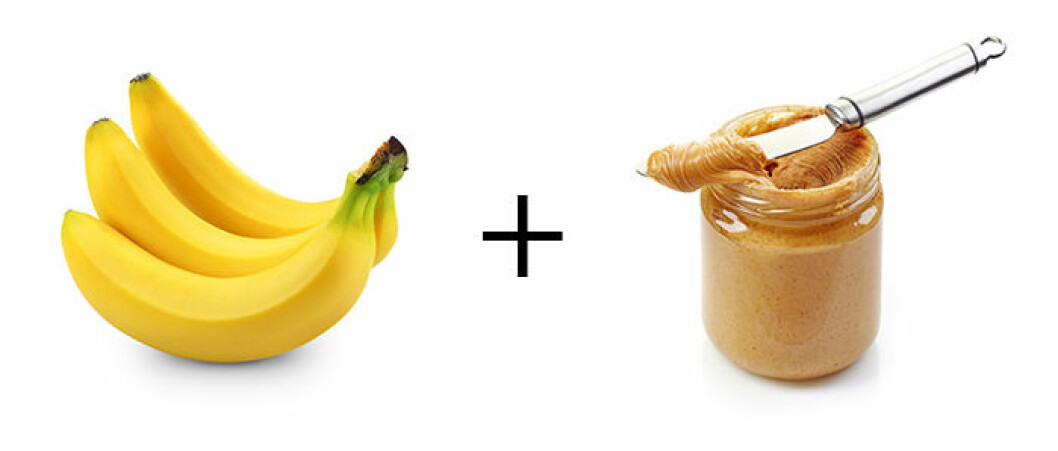 Banan + jordnötssmör.