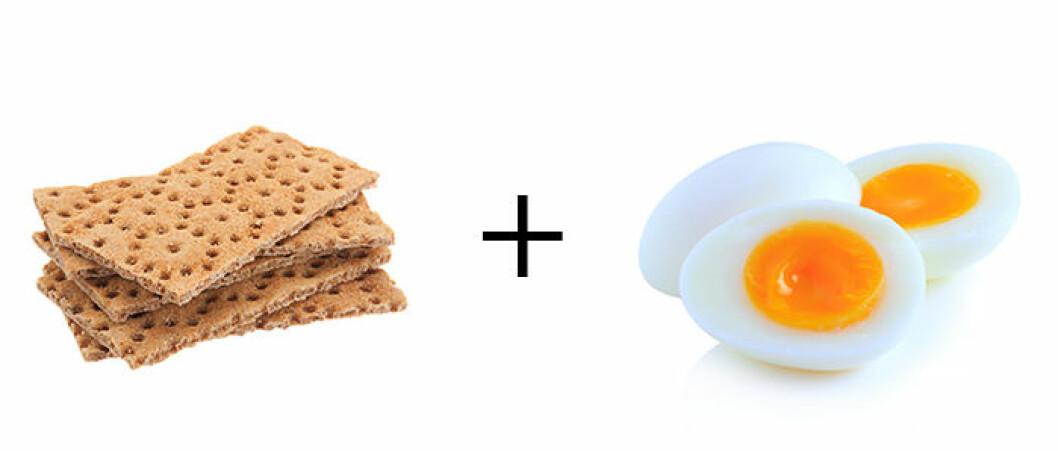 Knäckebröd + kokt ägg.