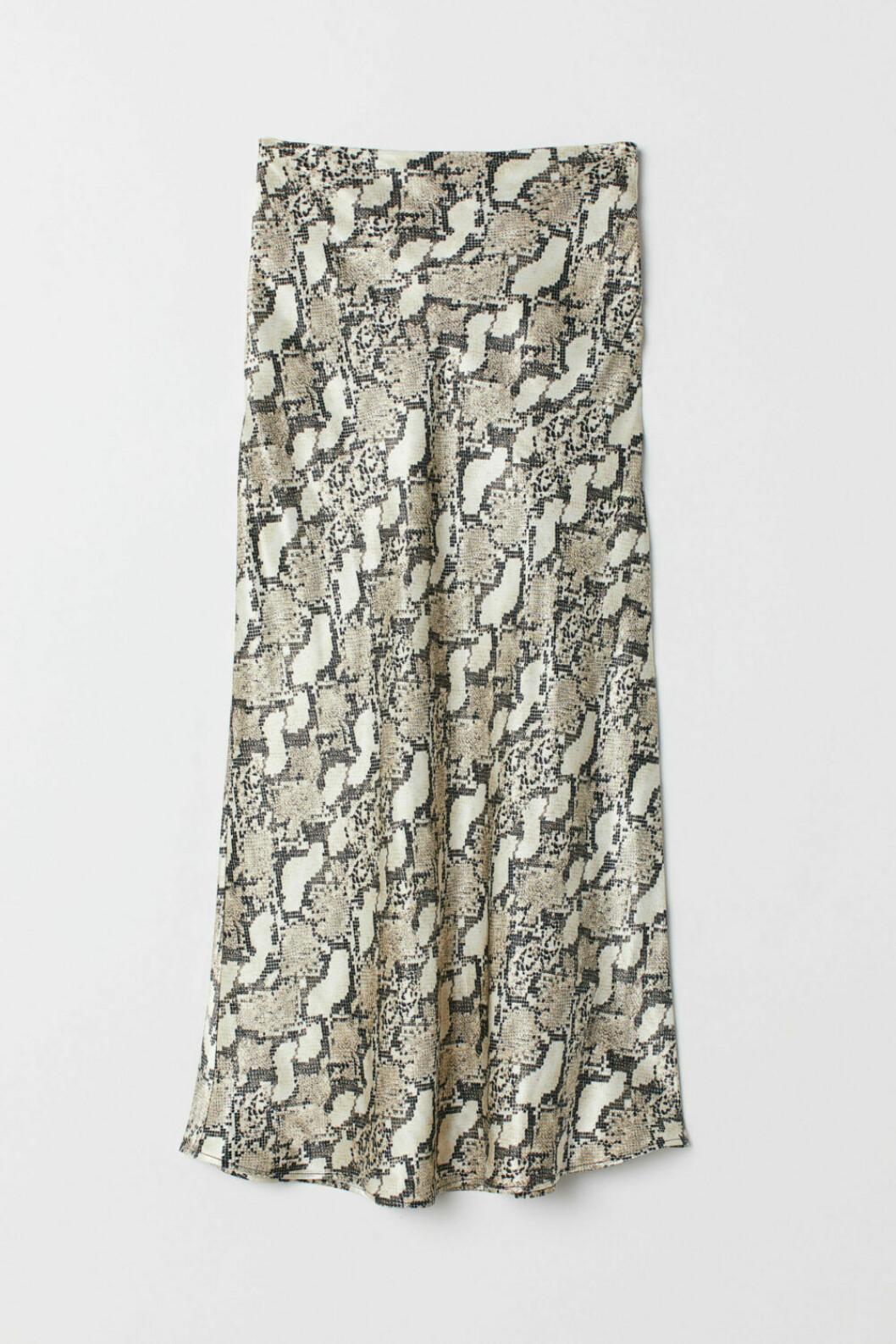 Vadlång kjol i ormimitation