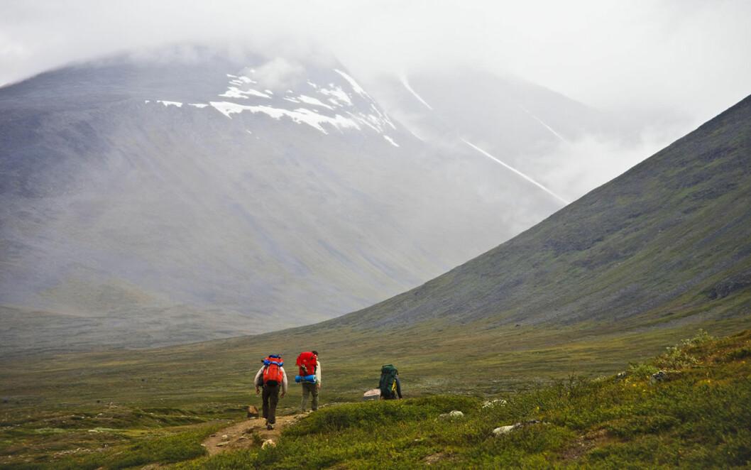 Tre personer vandrar