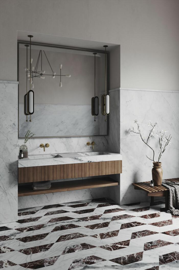 lyxigt och pampigt badrum i marmor från vanitas