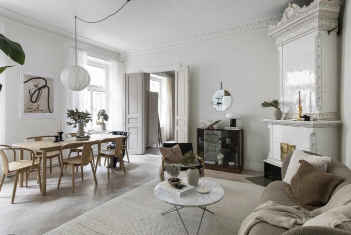 vardagsrum i Angelica Blicks lägenhet på Södermalm