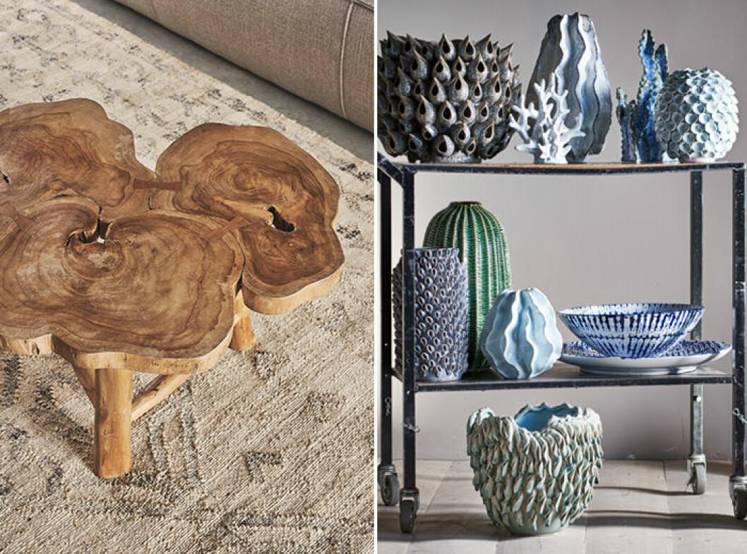 Skulpturalt soffbord från Zara Home och havsinspirerade vaser från Jotex