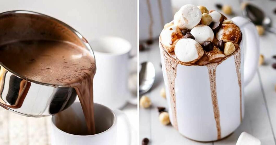 Varm choklad med nutella och marshmallows.