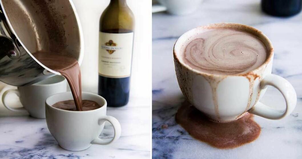 Varm choklad med rödvin.