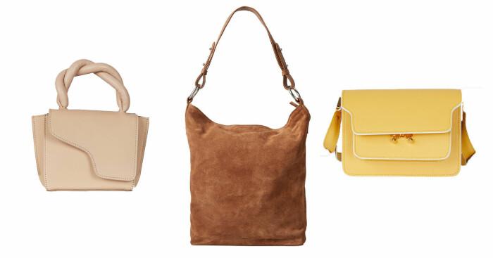 plock med liten rosa väska från atp atelier, brun toteväska från carin wester och gul väska från marni