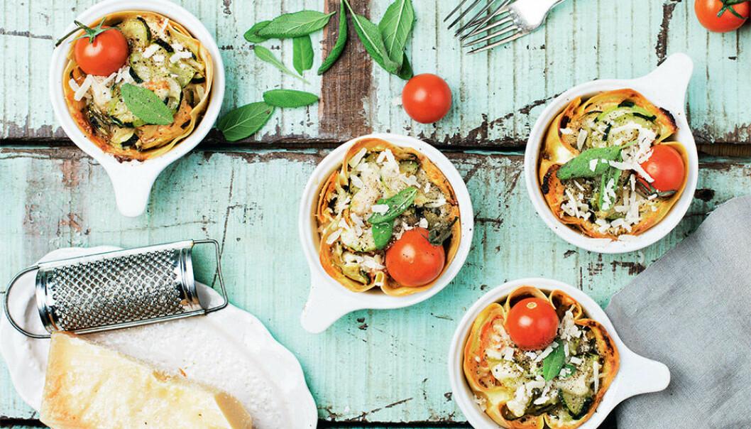 Vegetarisk lasagne med squash.