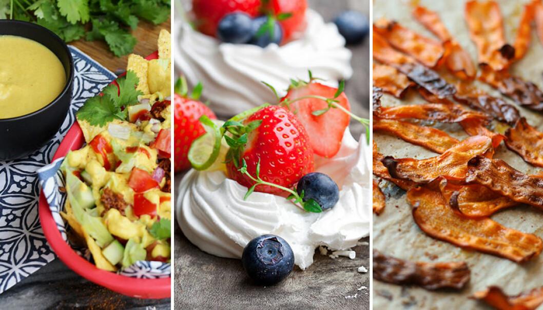 Veganska alternativ till ost, ägg och bacon.