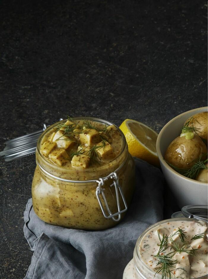 vegansk senapssill i en glasburk