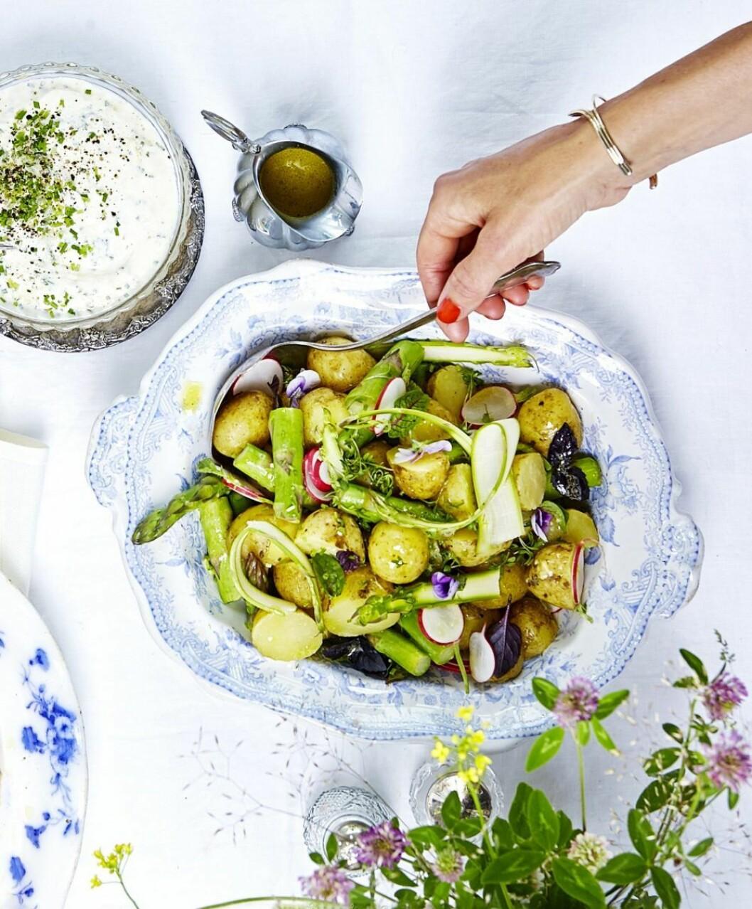 recept potatissallad vegan midsommarmat