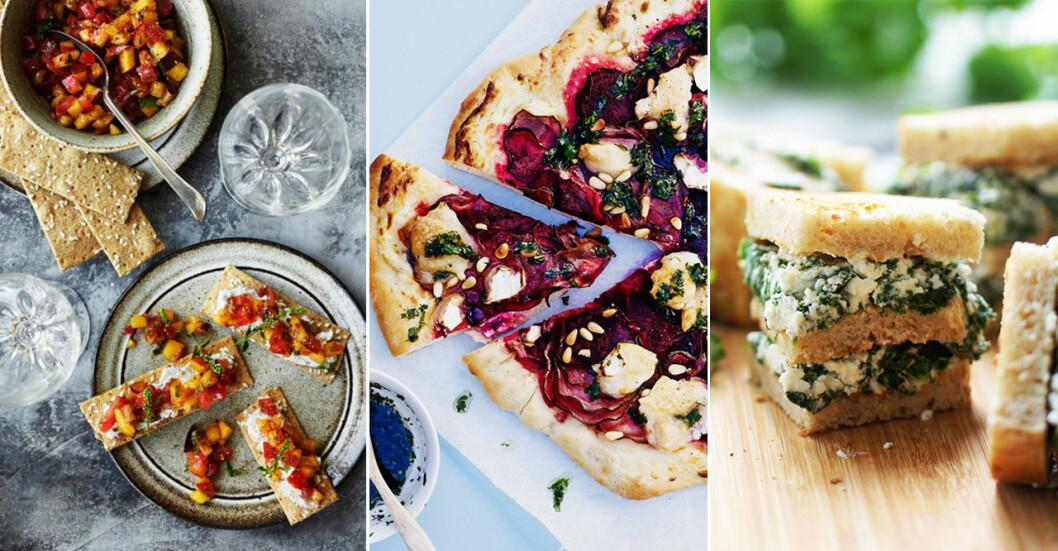 Recept på lyxiga vegetariska snittar och tilltugg