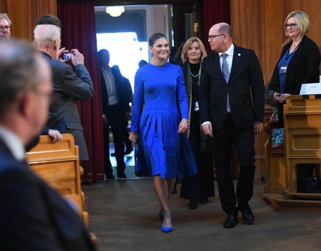 Kronprinsessan Victoria 2017, i sin mamma drottning Silvias klänning.
