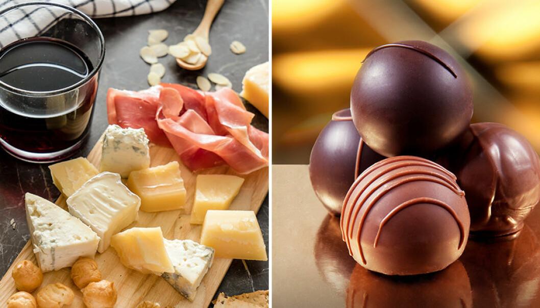 Vin, ost och choklad är bra för magen.