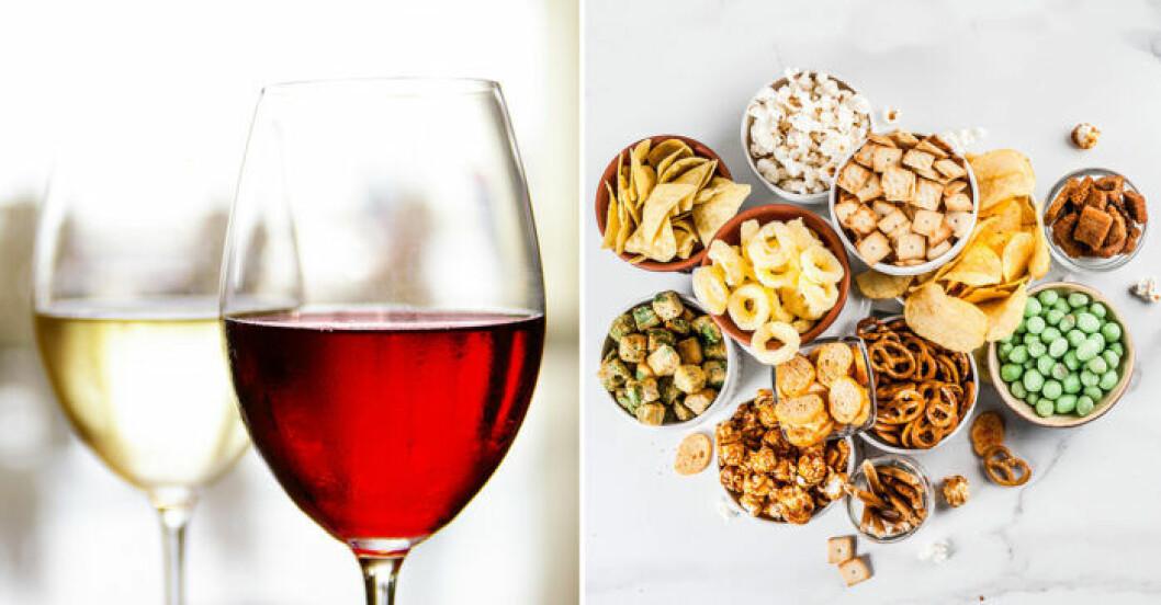 Väljer du vitt eller rött vin till snacksen?