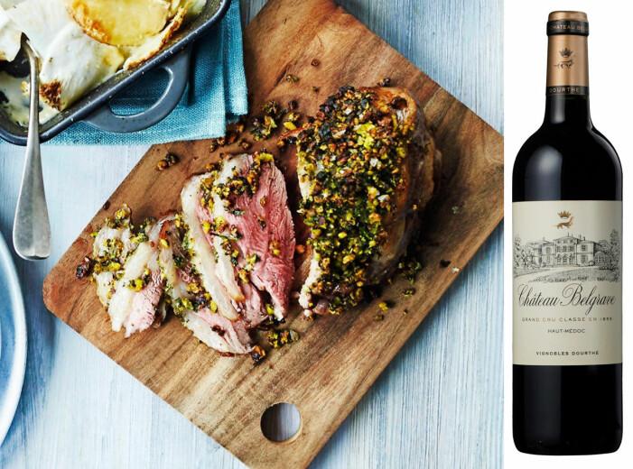 Lammstek med pistaschtäcke och Bordeaux.
