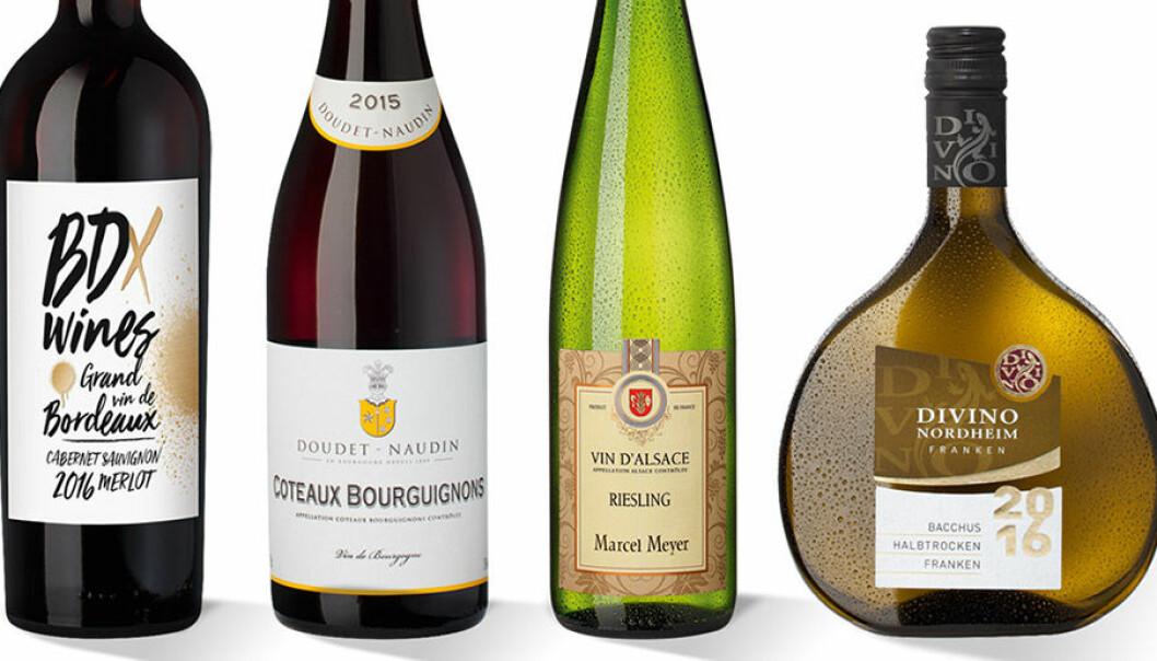 Fyra olika exempel på flaskor och former.
