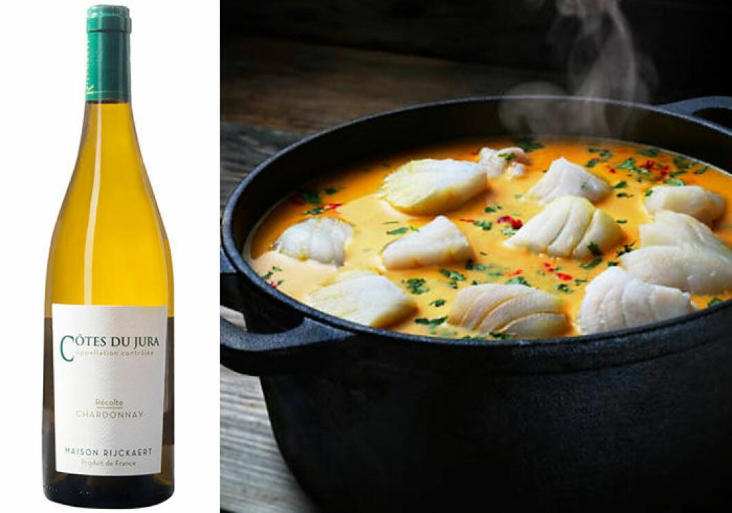 Côtes du Jura Chardonnay passar till fiskgryta med saffran.