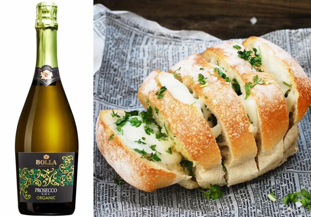 Bolla Prosecco Organic passar till vitlöksbröd med mozzarella.
