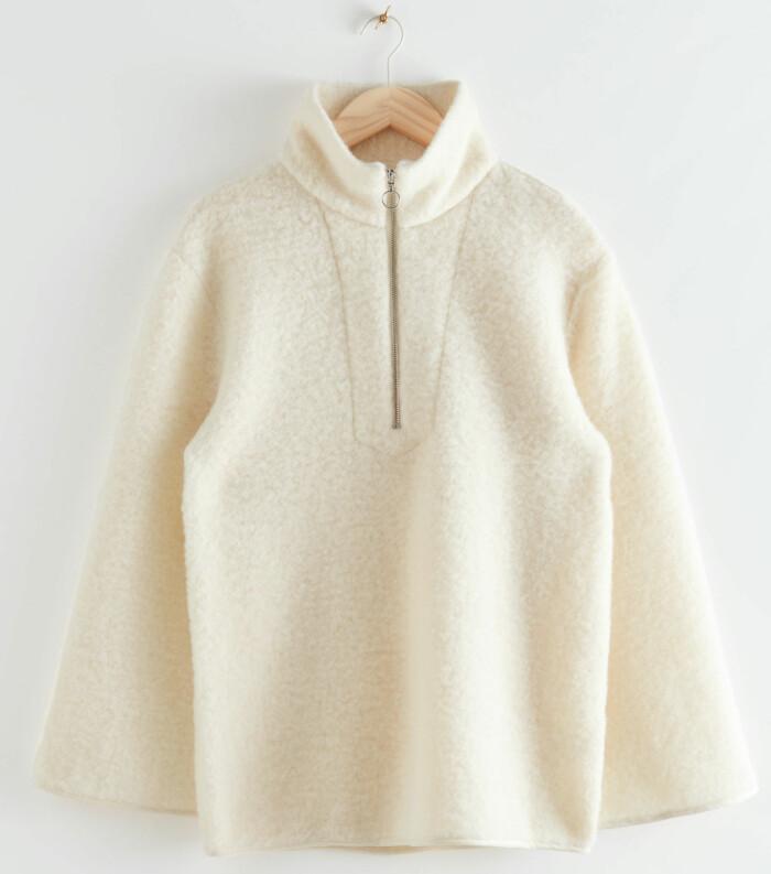 Vit fleece från & other stories med dekorativ zip-detalj