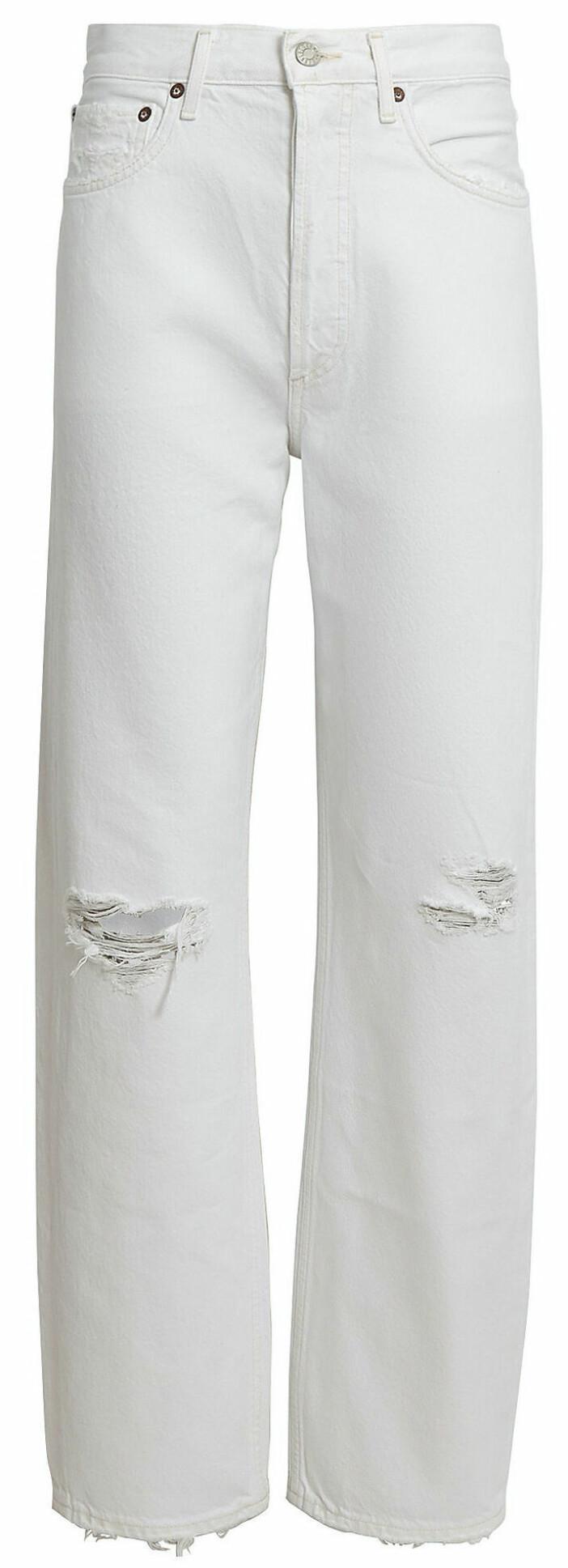Vita jeans från Agolde med dekorativa håldetaljer