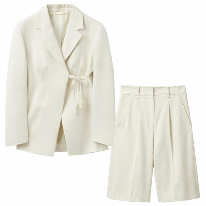 set med vita shorts och vit kavaj från cos