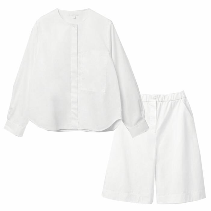 set i bomull med vit skjorta och vita shorts