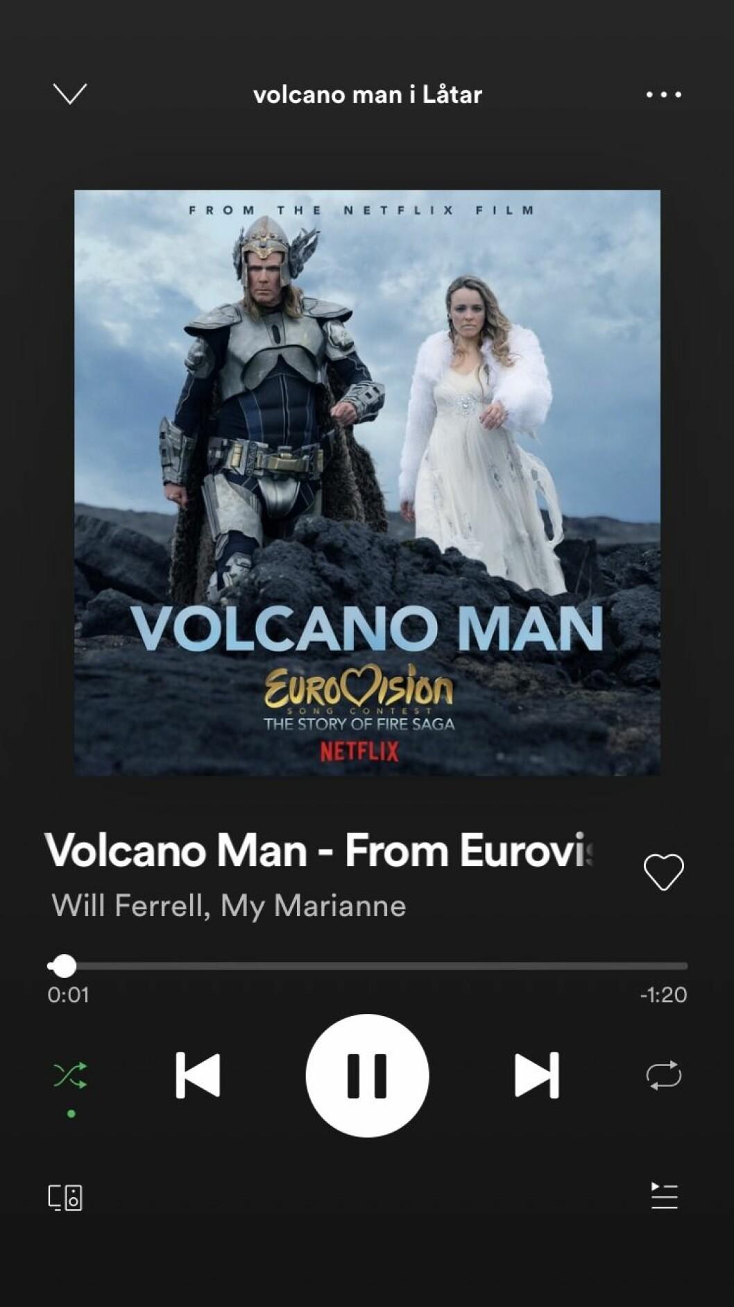 Låten volcano man på Spotify
