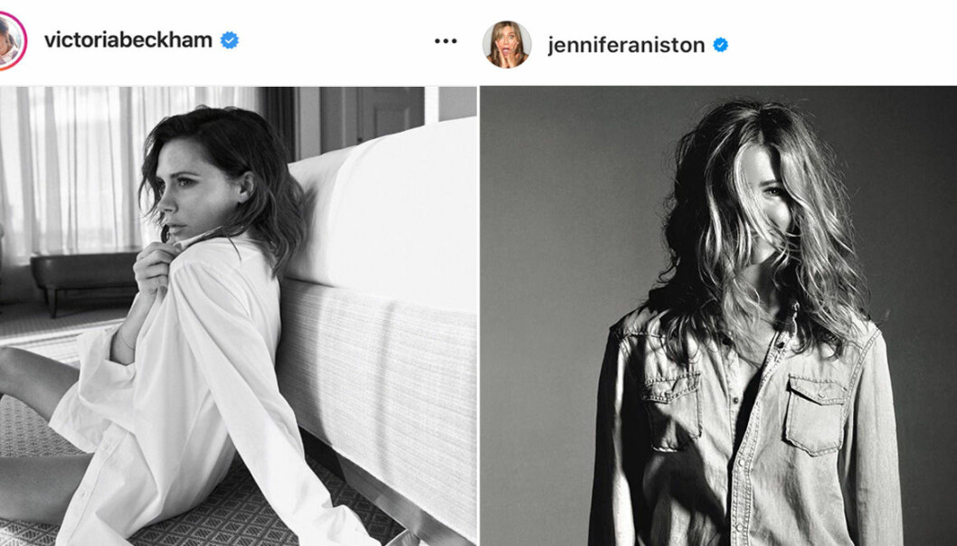 viktoria Beckham och Jennifer aniston i svartvita bilder på instagram