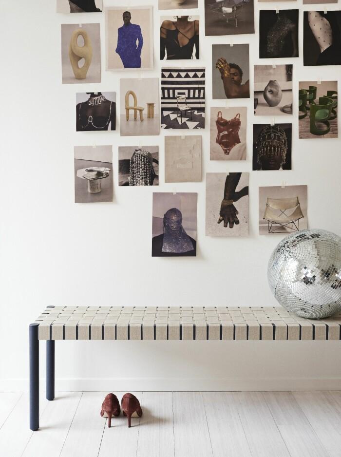 Hemma hos väskdesignern Yvonne Koné i Köpenhamn moodboard bänk