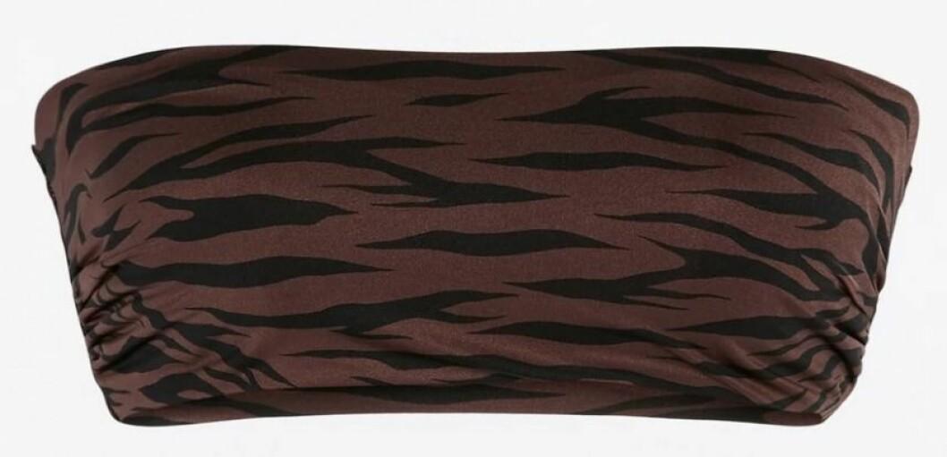djurmönstrad brun bikiniöverdel från Lindex.